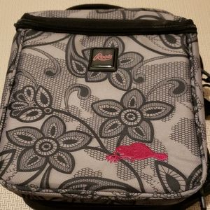 Roots lunchbox  new flowers gray with black